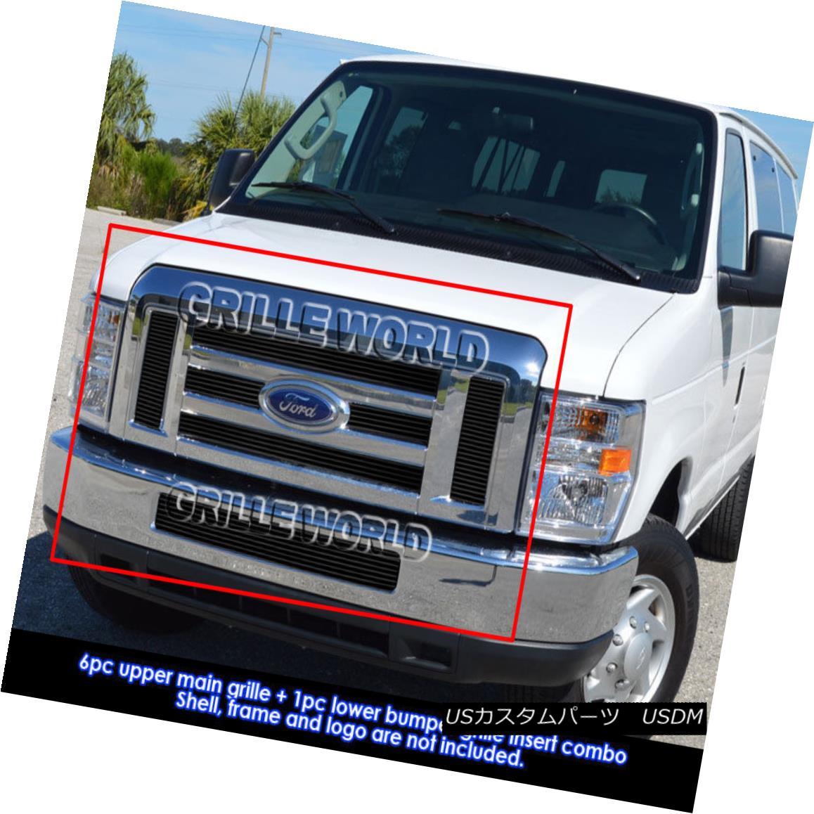グリル For 2008-2014 Ford Econoline/ E-Series Passenger Black Billet Grill Combo 2008?2014年フォードEconoline / Eシリーズ旅客用ブラックビレットグリルコンボ用