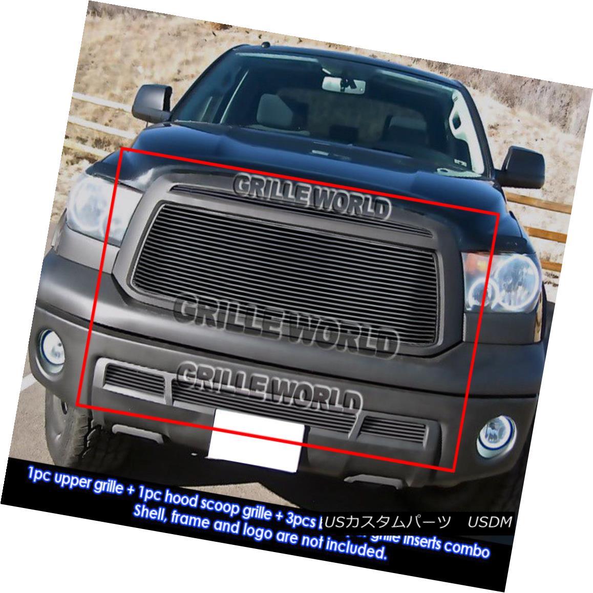 グリル For 10-11 Toyota Tundra Black Billet Grille Combo Insert トヨタトンドラブラックビレットグリルコンボインサート10-11用