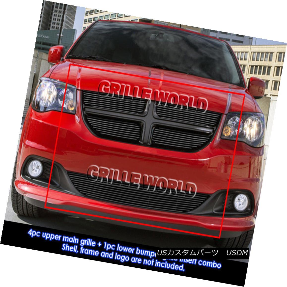 グリル Fits 2011-2013 Dodge Grand Caravan Black Billet Grille Grill Comnbo Insert フィット2011-2013ドッジグランドキャラバンブラックビレットグリルグリルコンボインサート