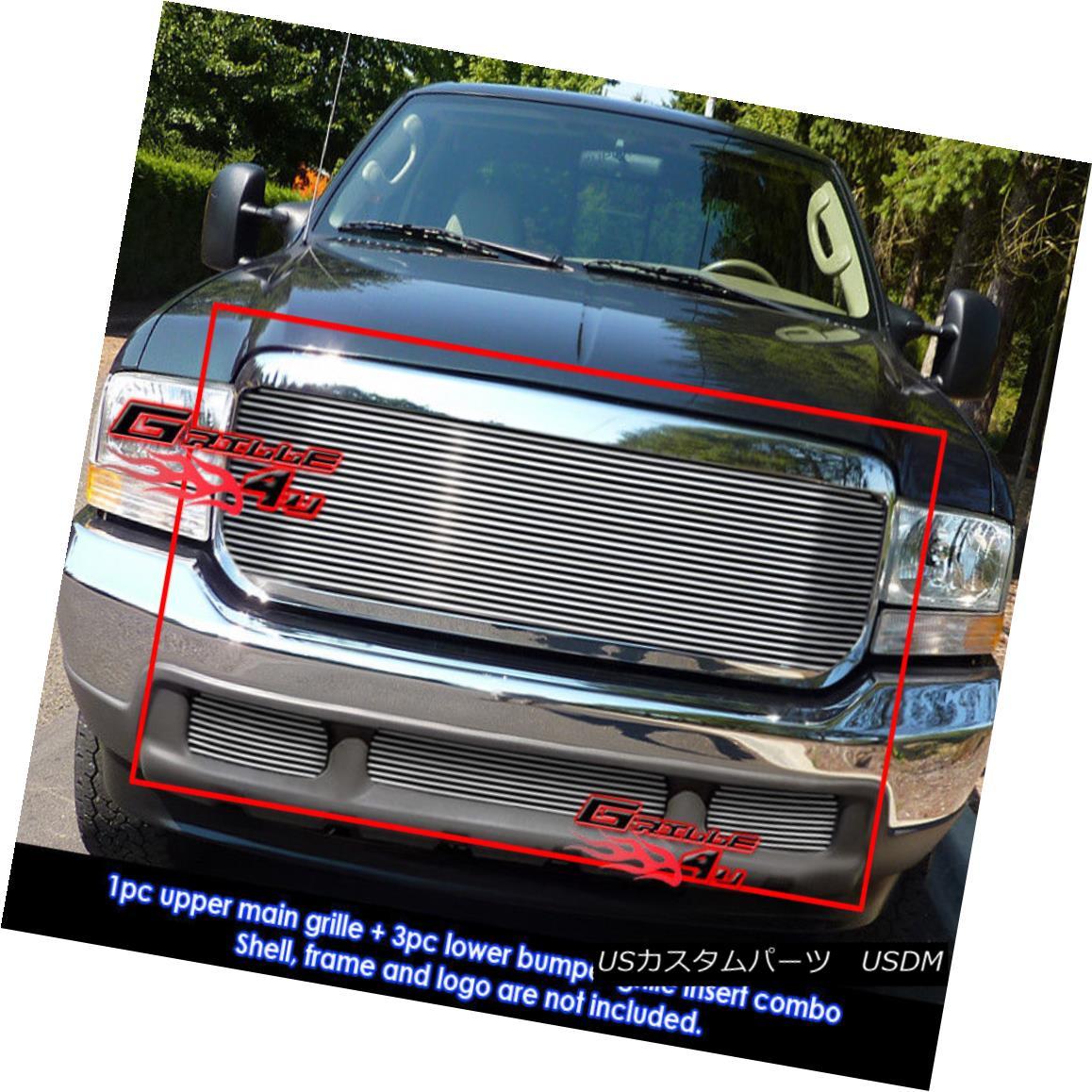 グリル For 99-04 Ford F-250/F-350 Super Duty Billet Grille Combo 99-04フォードF-250 / F-350スーパーデューティービレットグリルコンボ用