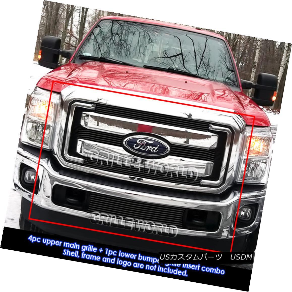 グリル Fits 2011-2015 Ford F250/F350 SD XLT/Lariat/King Ranch Black Billet Grille Combo フィット2011-2015フォードF250 / F350 SD XLT /ラリアット/キン g牧場黒ビレットグリルコンボ