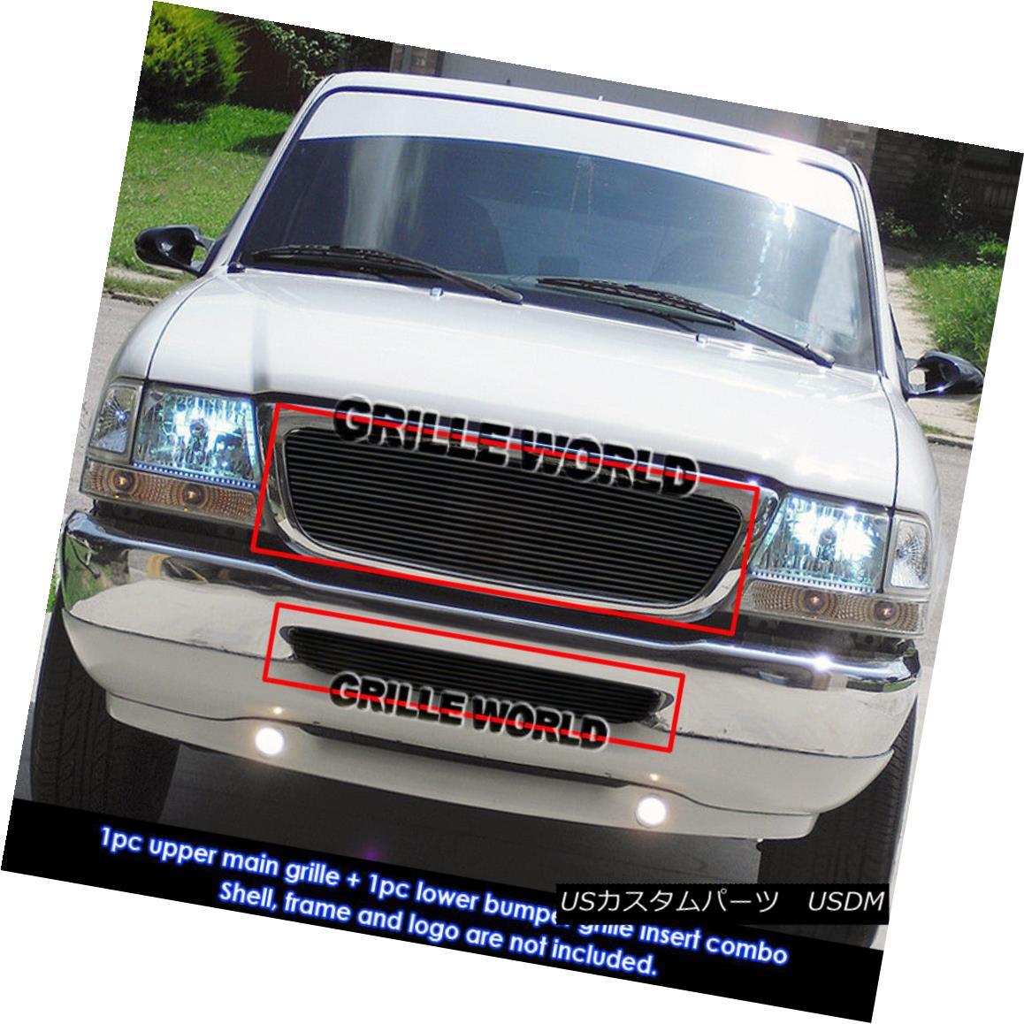 グリル For 98-00 Ford Ranger Black Billet Grille Combo Insert 98-00 For Ford Ranger Black Billet Grilleコンボインサート