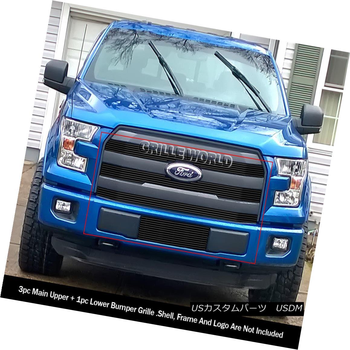 グリル Fits 2015-2017 Ford F-150 Lariat/ King Ranch Model Black Billet Grille Combo フィット2015-2017フォードF-150ラリアット/キングランチモデルブラックビレットグリルコンボ