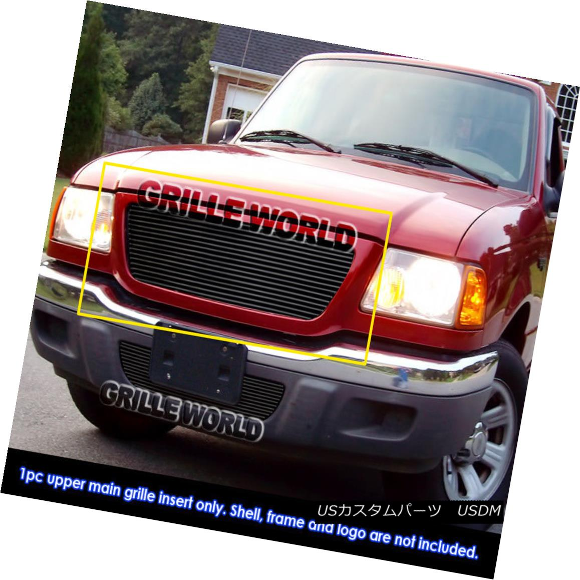 グリル For 01-03 Ford Ranger XLT XL 2WD Black Billet Grille Grill Insert 01-03フォードレンジャーXLT XL 2WDブラックビレットグリルグリルインサート用