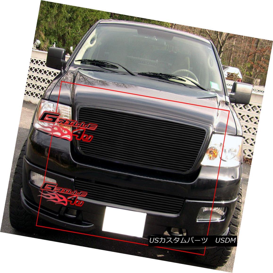 グリル For 04-05 Ford F-150 Honeycomb Black Billet Grille Combo 04-05フォードF-150ハニカムブラックビレットグリルコンボ用