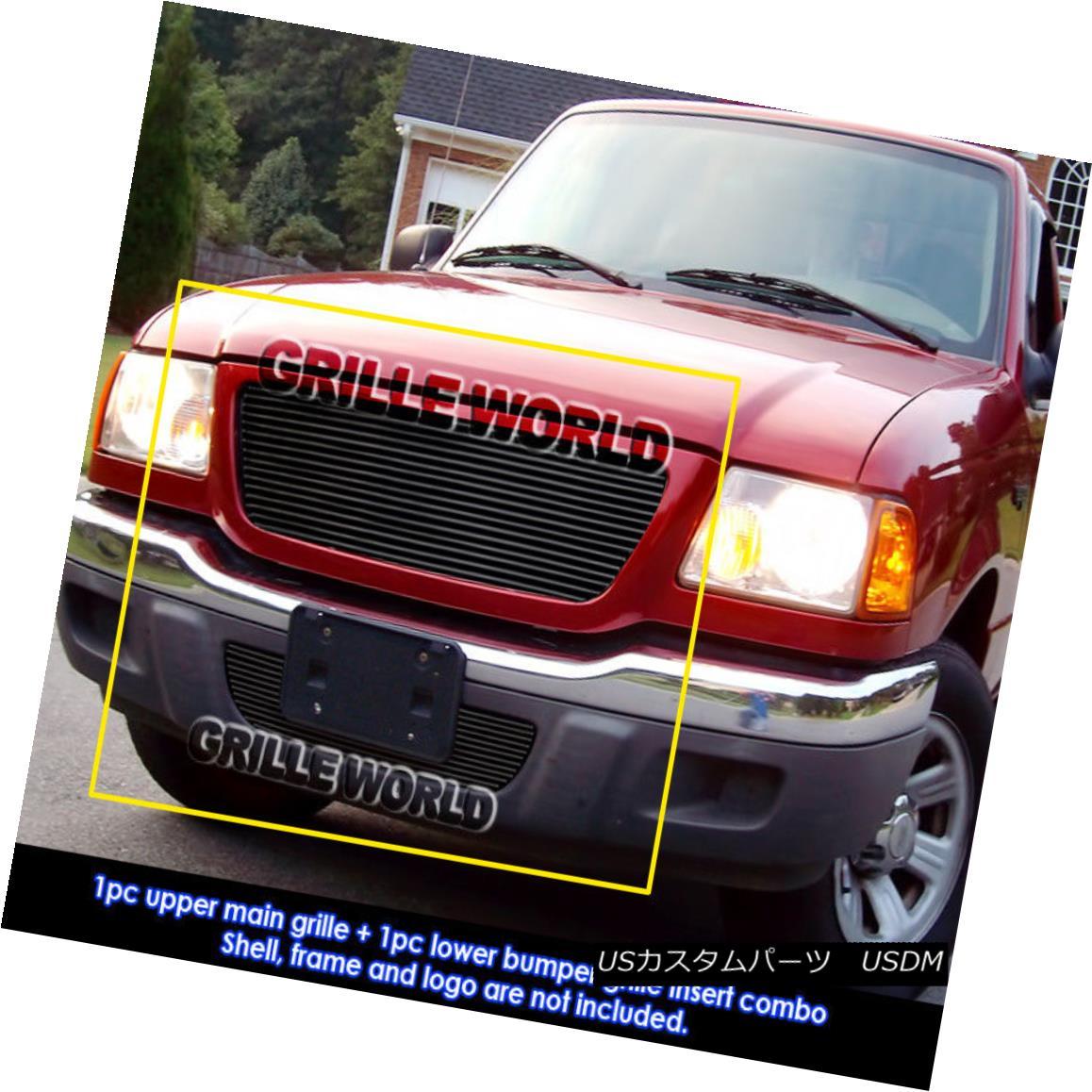 グリル For 01-03 Ford Ranger XLT/XL 2WD Black Billet Grille Grill Combo Insert 01-03フォードレンジャーXLT / XL 2WDブラックビレットグリルグリルコンボインサート