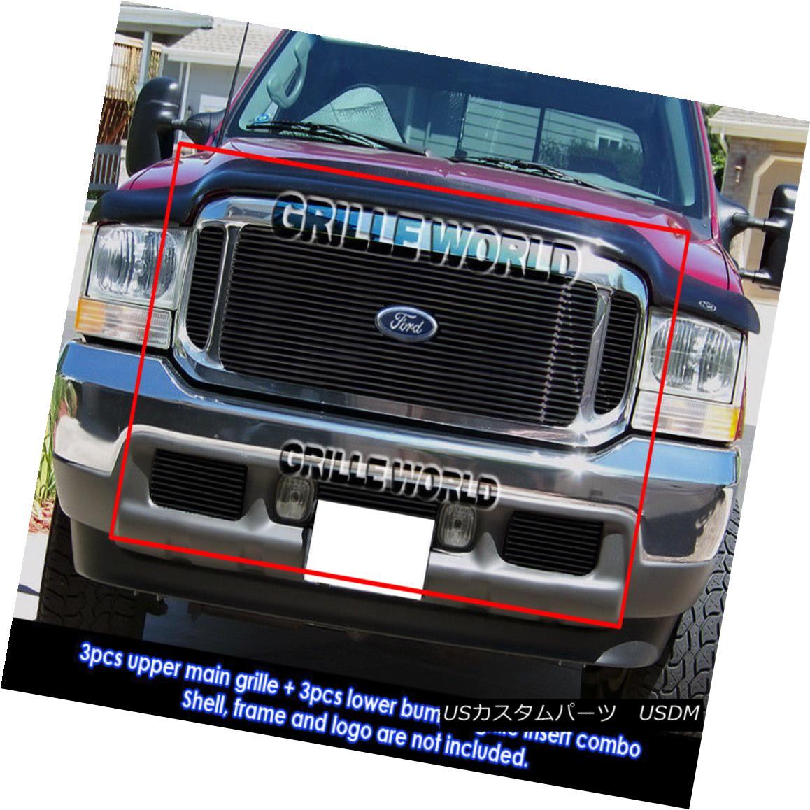 グリル 99-04 Ford Excursion/F250/F350 Super Duty Black Billet Grille Grill Combo Insert 99-04フォードエクスカーション/ F250 / F350スーパーデューティブラックビレットグリルグリルコンボインサート