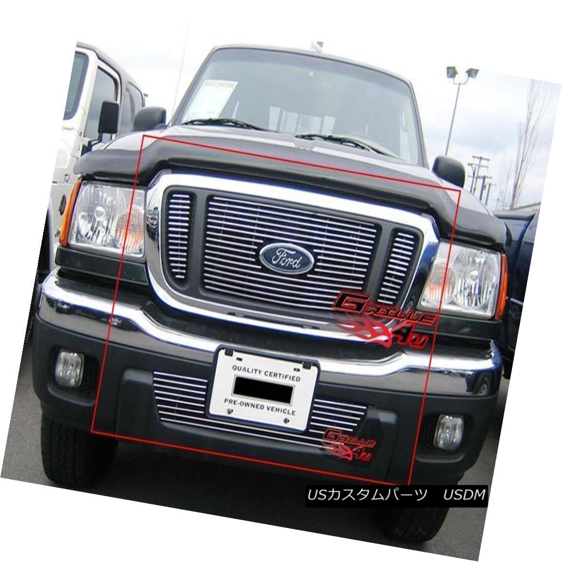 グリル For 04-05 Ford Ranger FX4 4WD Billet Grille Combo Insert 04-05フォードレンジャーFX4 4WDビレットグリルコンボインサート