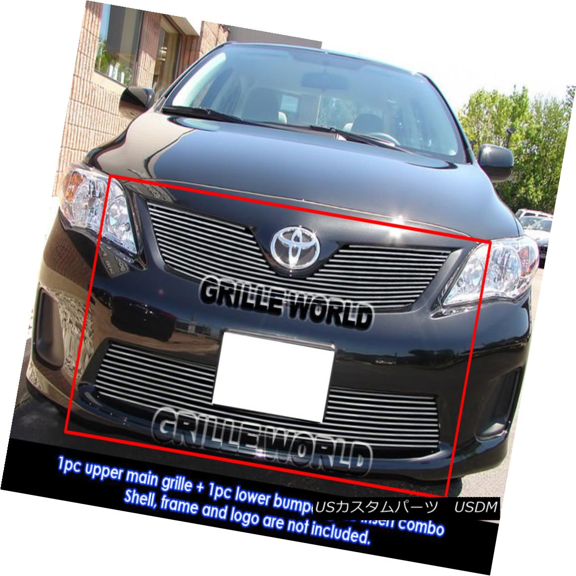 グリル For 2011-2013 Toyota Corolla Billet Grille Combo Insert 2011年?2013年トヨタカローラビレットグリルコンボインサート