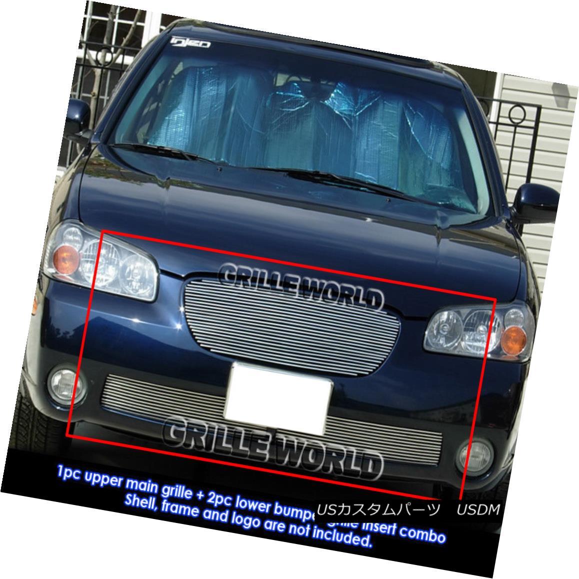 グリル For 2002-2003 Nissan Maxima SE/GXE Billet Grill Grille Combo Insert 2002-2003日産マキシマSE / GXEビレットグリルグリルコンボインサート