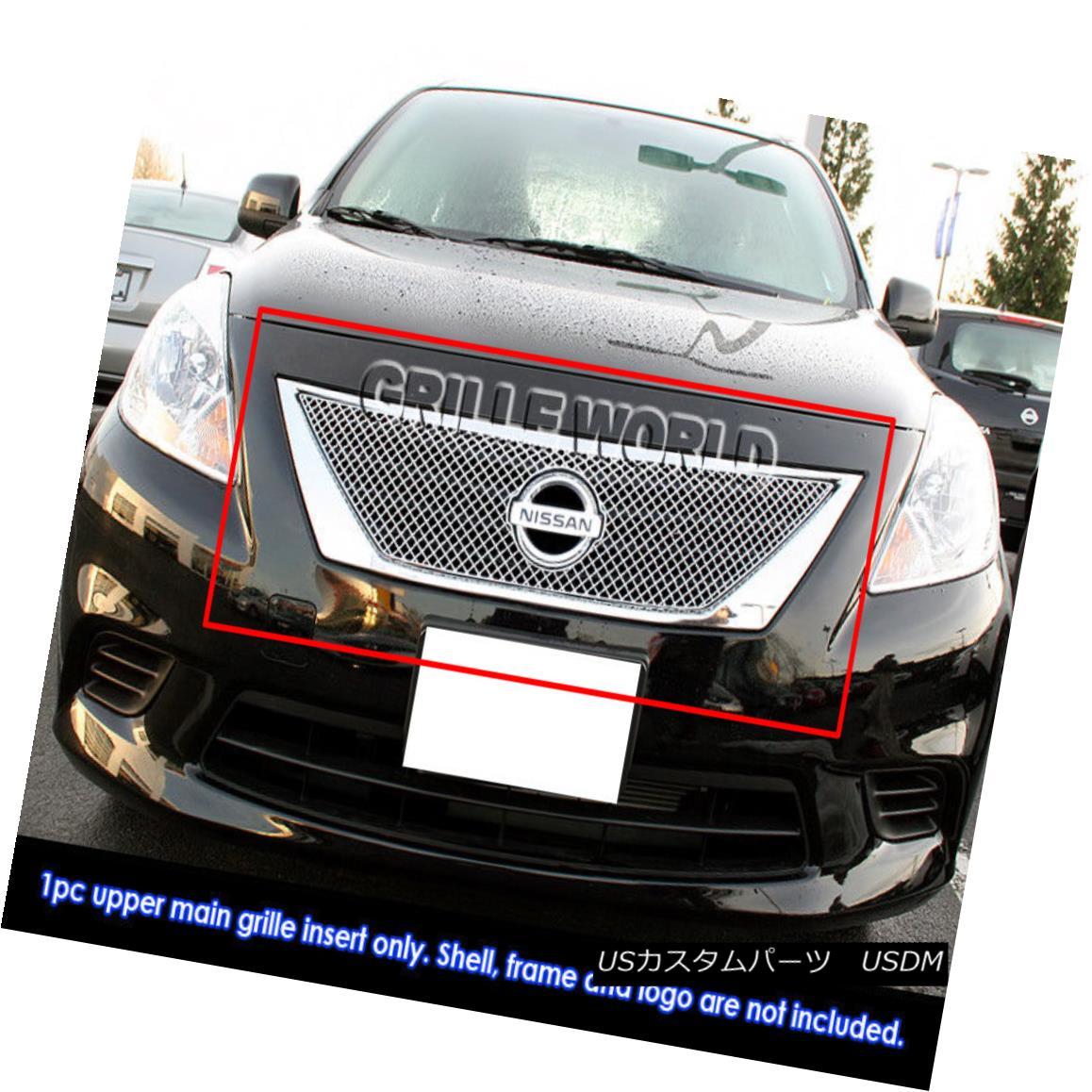 グリル Fits 2011-2013 Nissan Versa Sedan Stainless Steel X-mesh Grille Insert 2011-2013 Nissan Versa SedanステンレススチールXメッシュグリルインサート