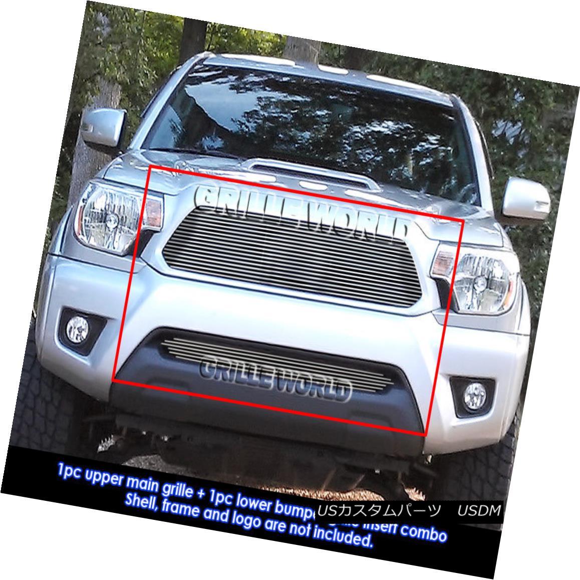 グリル Fits 2012-2013 Toyota Tacoma Billet Grille Grill Insert Combo フィット2012-2013トヨタタコマビレットグリルグリルインサートコンボ