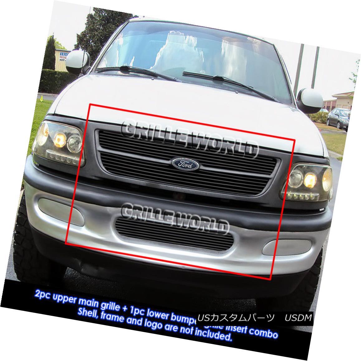 グリル For 1997-1998 Ford Expedition/ F-150 Bar Style 4WD Black Billet Grill Combo 1997-1998 Ford Expedition / F-150バースタイル4WDブラックビレットグリルコンボ