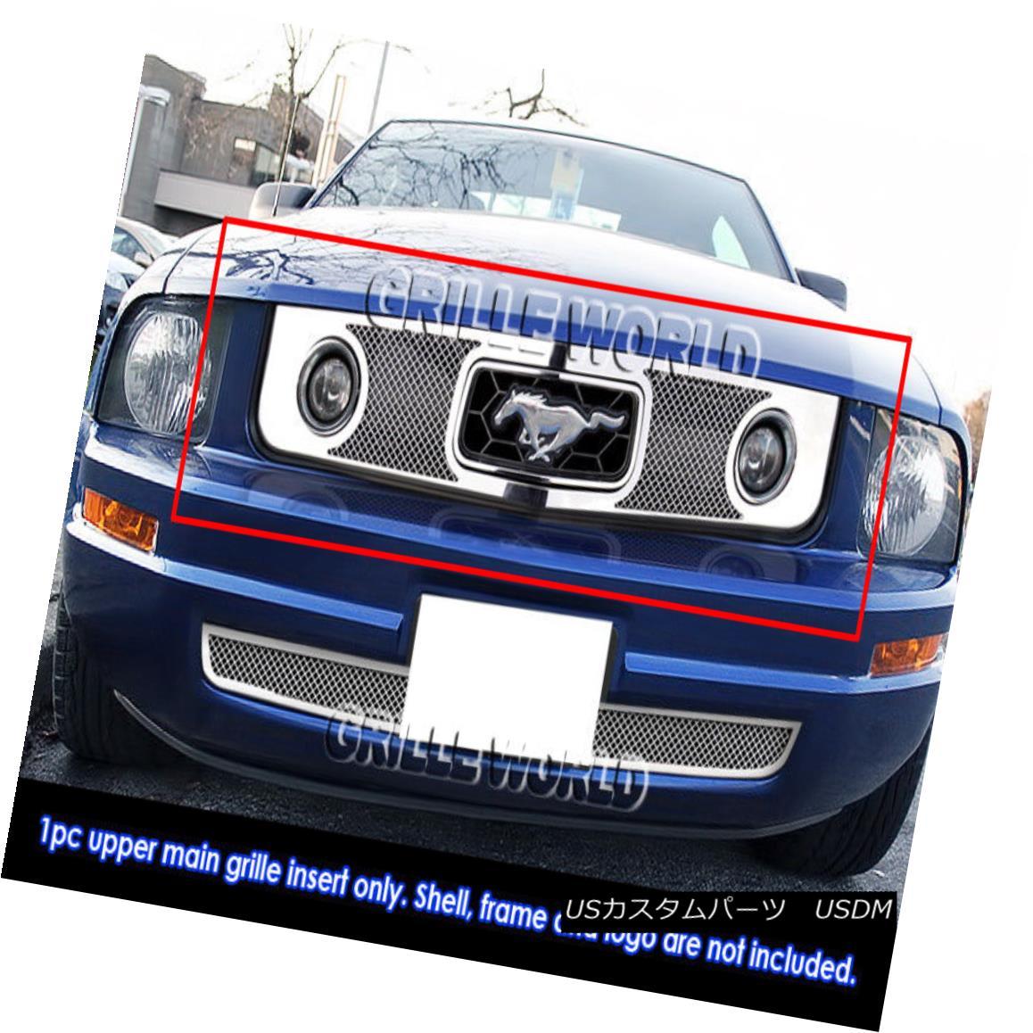 グリル Fits 2005-2009 Ford Mustang V6 Stainless Steel Mesh Grille Grill Insert フィット2005-2009フォードマスタングV6ステンレスメッシュグリルグリルインサート