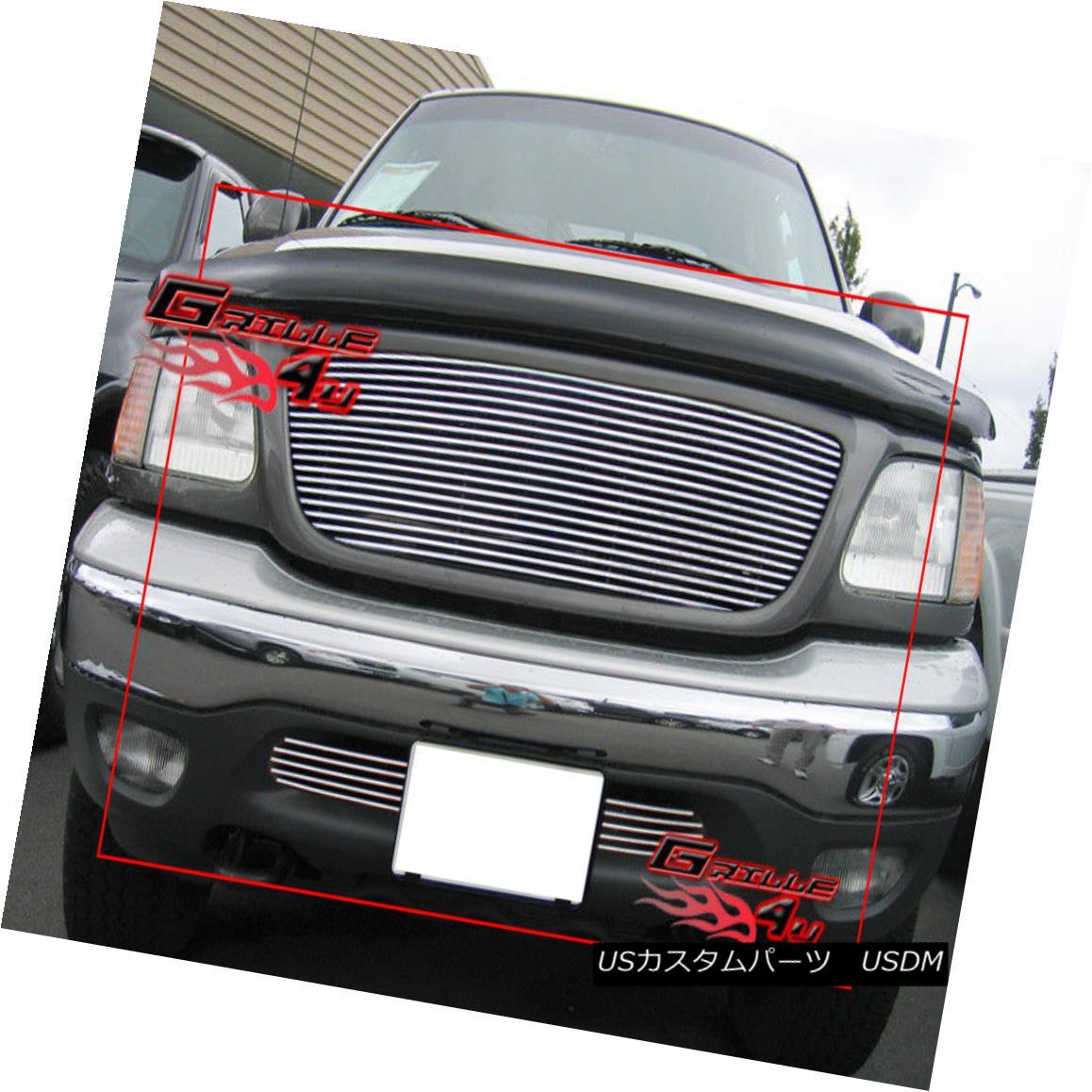 グリル For 99-03 Ford F-150 F150 4WD Billet Grille Combo Insert 99-03フォードF-150 F150 4WDビレットグリルコンボインサート
