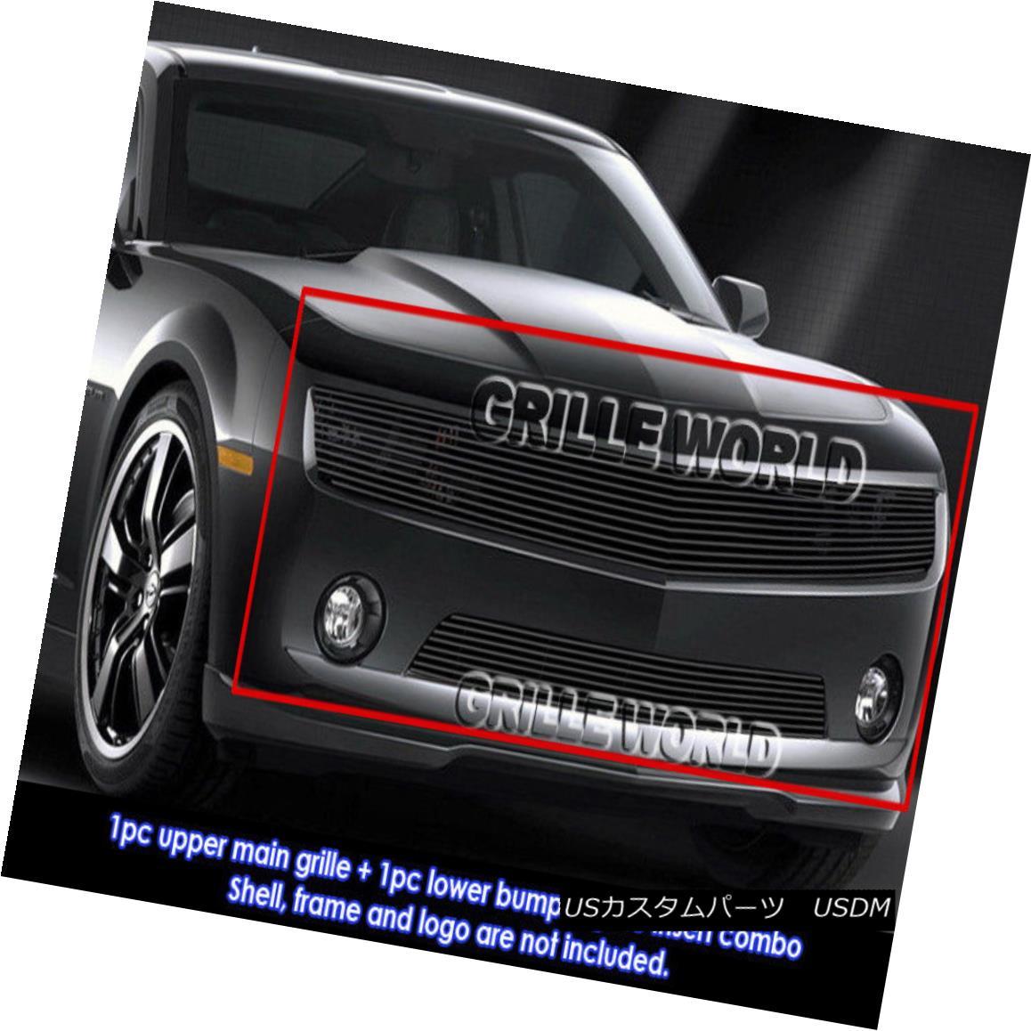 グリル 2010-2013 Chevy Camaro LT/LS V6 Phantom Black Billet Grille Grill Combo Insert 2010-2013シボレーカマロLT / LS V6ファントムブラックビレットグリルグリルコンボインサート