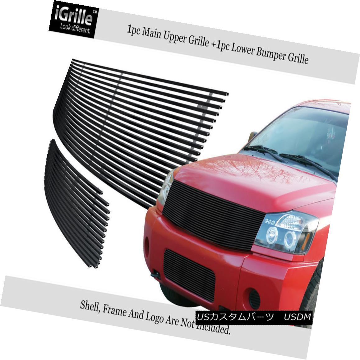 グリル Fits 2004-2007 Nissan Titan/Armada Black Stainless Steel Billet Grille Combo フィット2004-2007日産タイタン/陸軍黒ステンレス鋼ビレットグリルコンボ