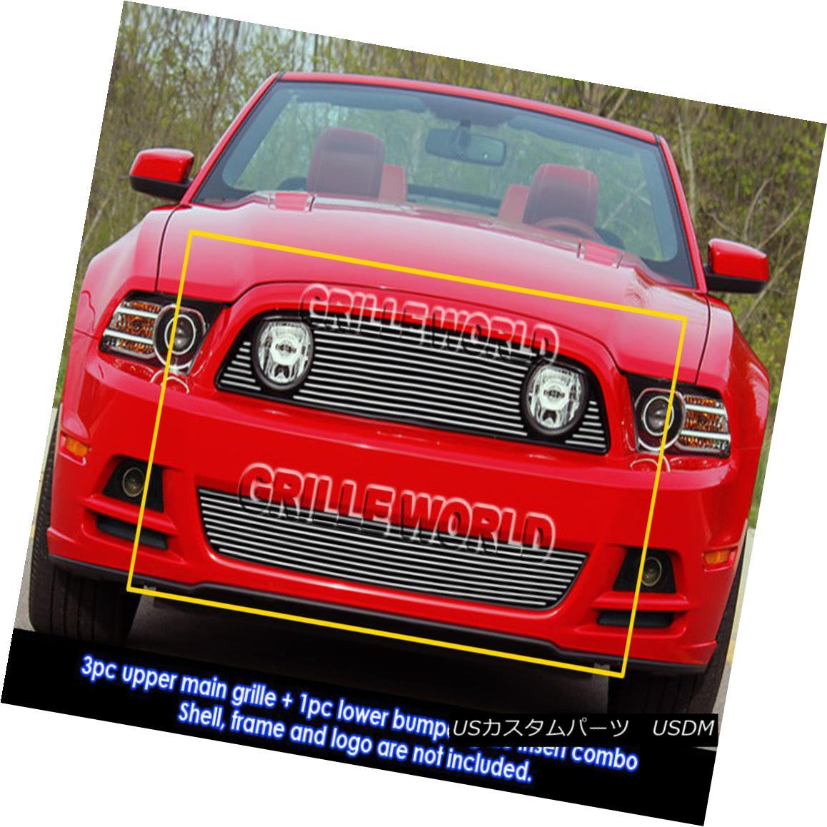 グリル For 2013-2014 Ford Mustang GT Billet Grill Insert Combo 2013?2014年フォードマスタングGTビレットグリルインサートコンボ