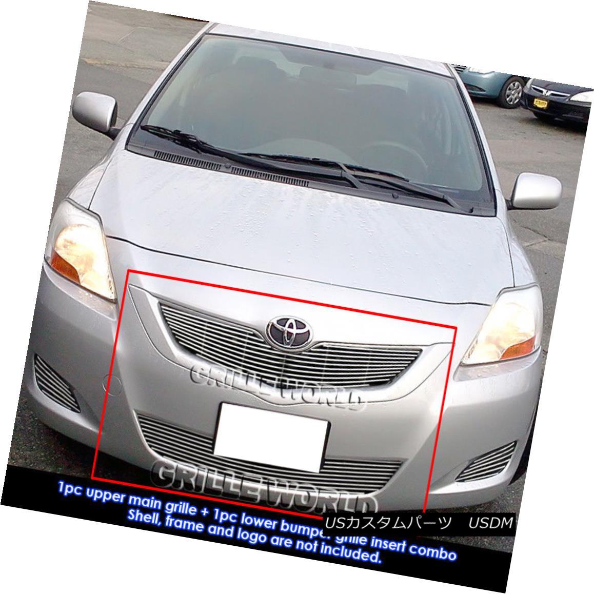 グリル Fits 2009-2011 Toyota Yaris Sedan Billet Grille Grill Insert Combo フィット2009年から2011年トヨタヤリスセダンビレットグリルグリルインサートコンボ