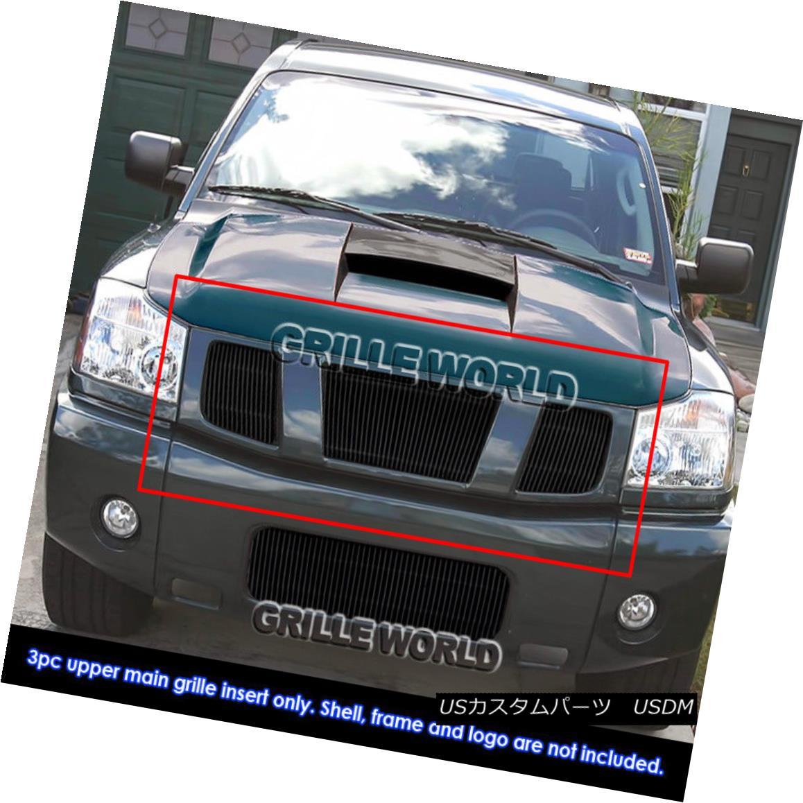 グリル For 04-07 Nissan Titan/Armada Black Billet Vertical Grille 04-07日産タイタン/アルマダブラックビレット縦型グリル