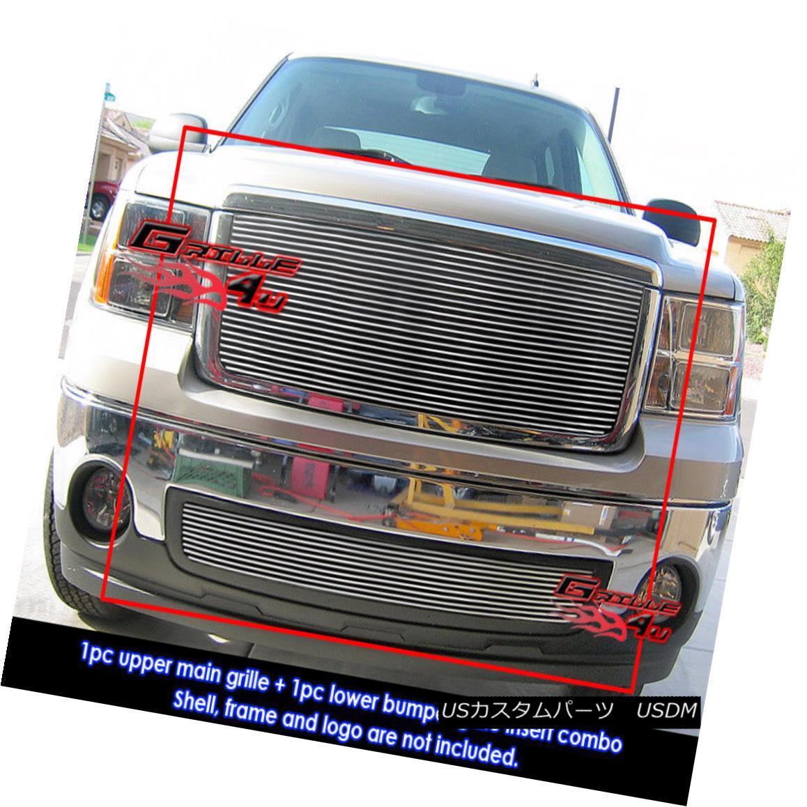 グリル For 07-2011 08 09 2010 GMC Sierra 1500 Billet Grille Combo 07-2011 08 09 2010 GMC Sierra 1500ビレットグリルコンボ
