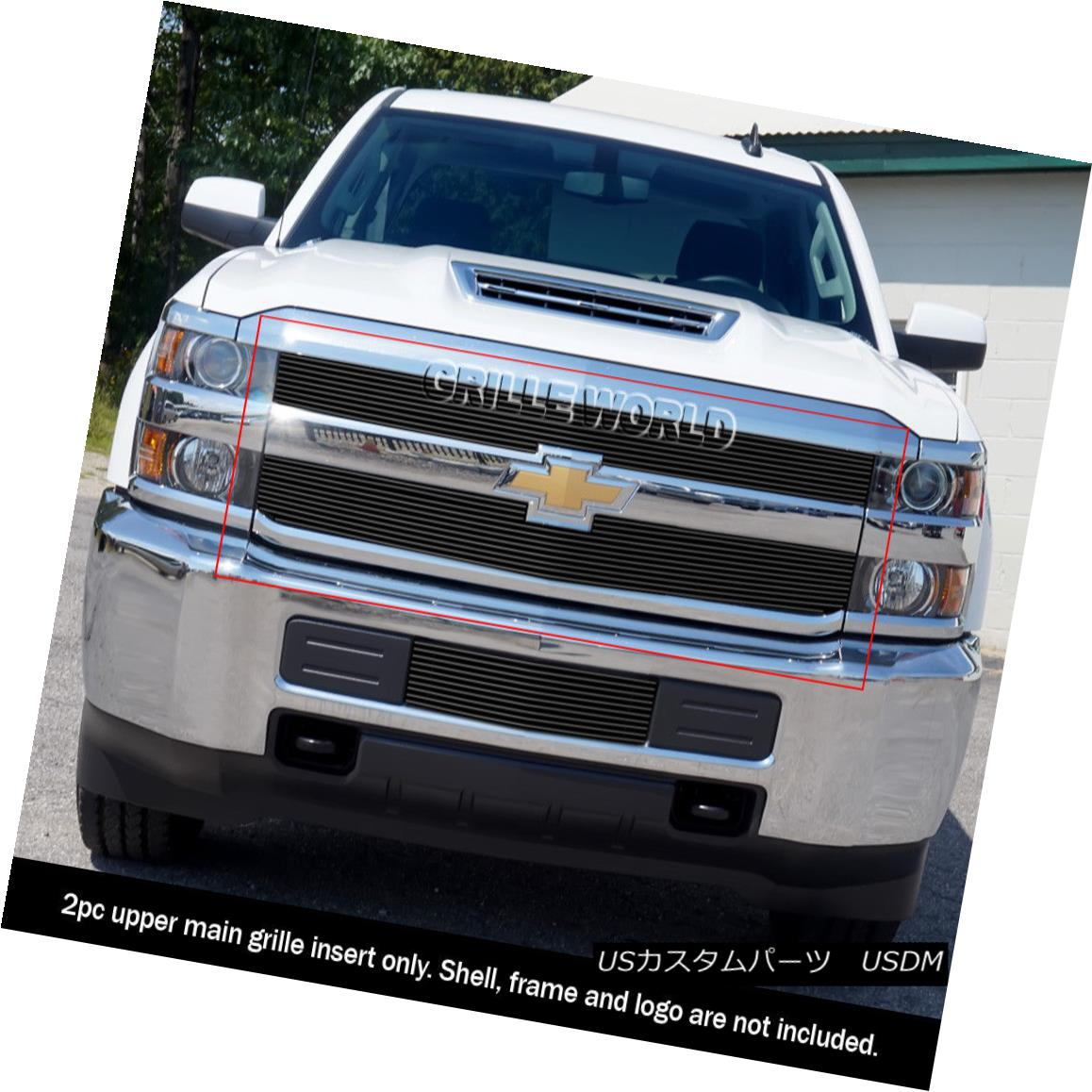 グリル Fits 2015-2018 Chevy Silverado 2500 HD/3500 HD Black Billet Grille Insert フィット2015-2018 Chevy Silverado 2500 HD / 3500 HDブラックビレットグリルインサート