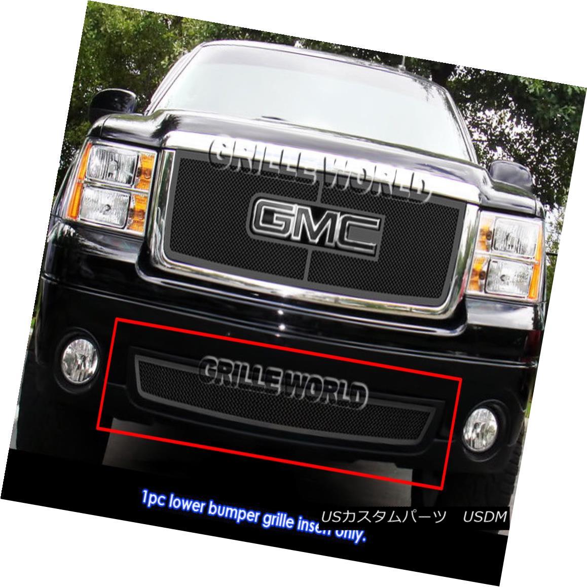 グリル Fits 07-2013 GMC Sierra 1500/07-2010 Denali/2500/3500 HD Black Mesh Grille Grill フィット07-2013 GMC Sierra 1500 / 07-2010デナリ/ 2500/35 00 HDブラックメッシュグリルグリル