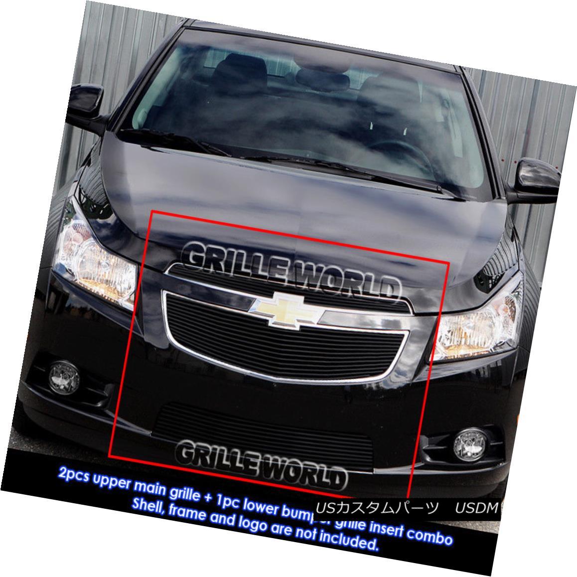 グリル For 2011-2014 Chevy Cruze LT/LTZ Black Billet Grille Grill Insert Combo 2011-2014シボレークルーズLT / LTZブラックビレットグリルグリルインサートコンボ用