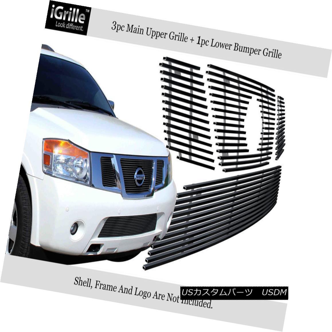 グリル For 2008-2014 Nissan Armada Stainless Black Billet Grille With Logo Show Combo 2008-2014日産アルマダステンレスブラックビレットグリルロゴショーコンボ