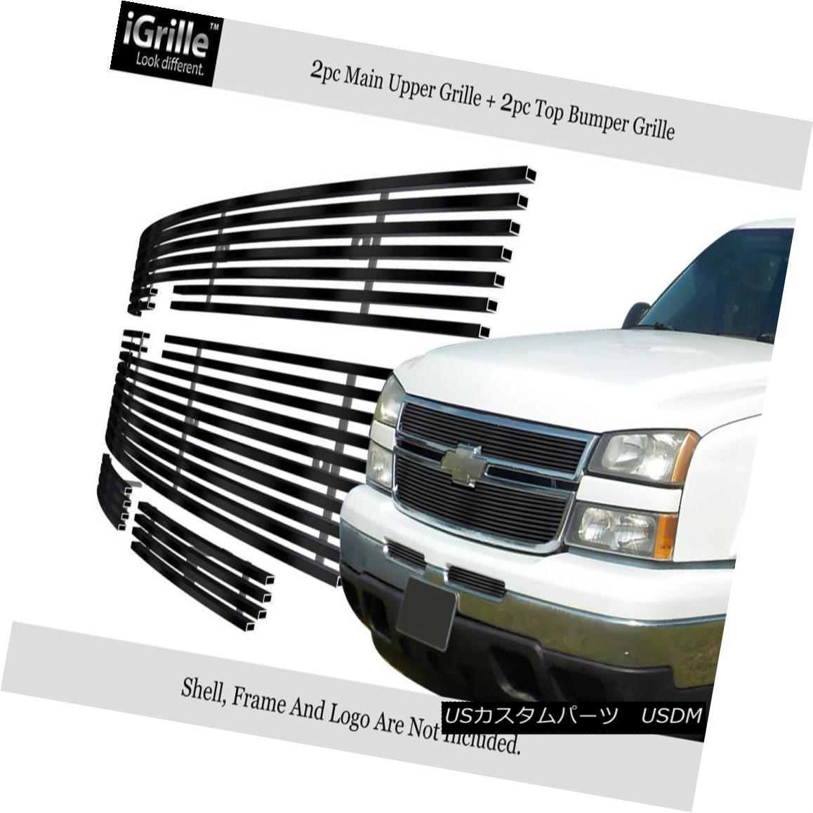 グリル For 2006 Chevy Silverado 1500/05-06 2500 Stainless Black Billet Grille Combo 2006年Chevy Silverado 1500 / 05-06 2500ステンレスブラックビレットグリルコンボ