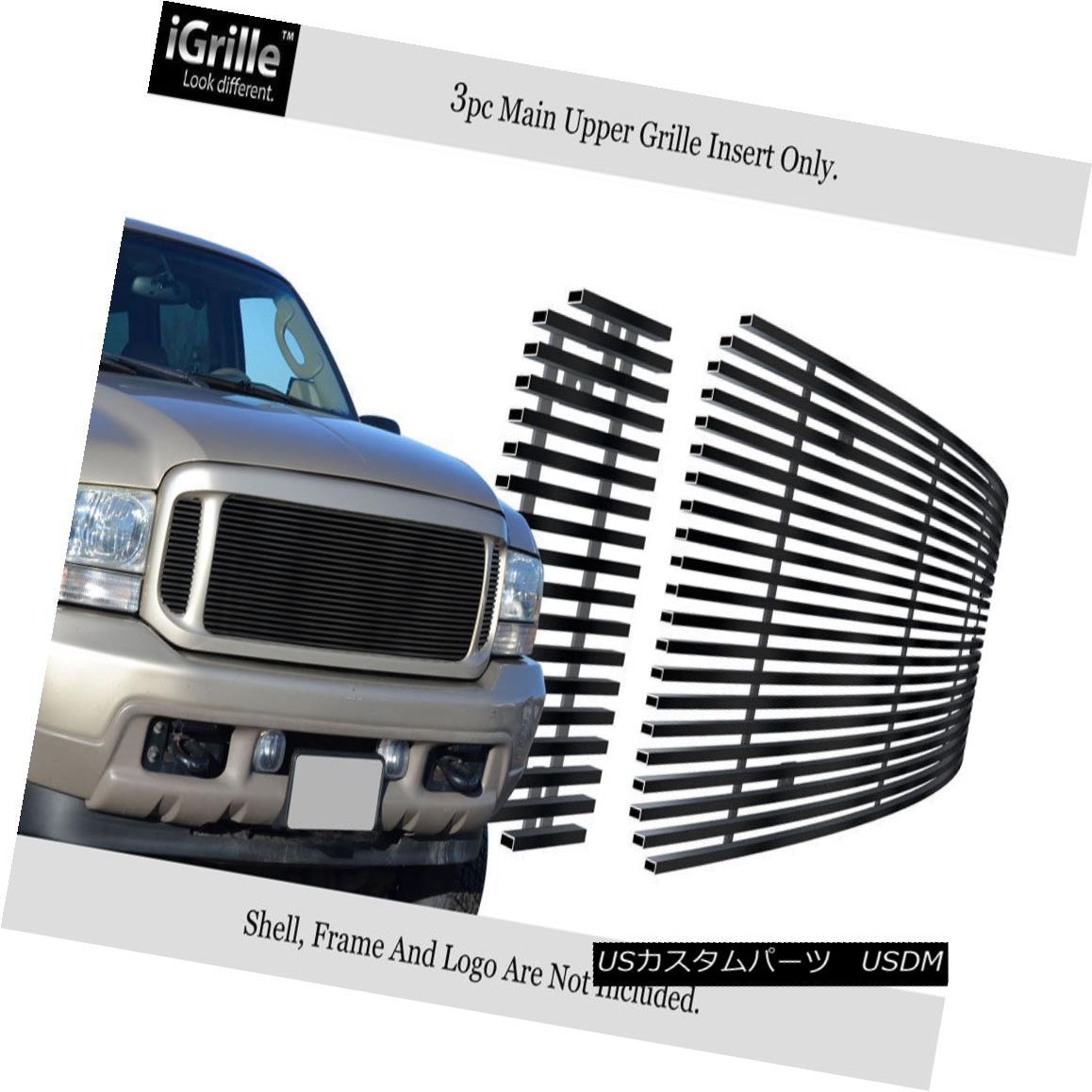 グリル Fits 99-04 Ford F250/F350/Super Duty/Excursion Black Stainless Billet Grille フィット99-04 Ford F250 / F350 / Supe rデューティー/エクスカーションブラックステンレスビレットグリル
