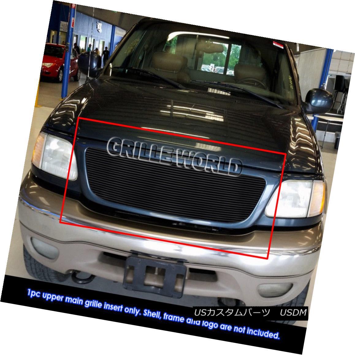 グリル Fits 1999-2002 Ford Expedition 22 Bars Replacement Black Billet Grille 1999-2002 Ford Expedition 22バー交換用ブラックビレットグリルに適合