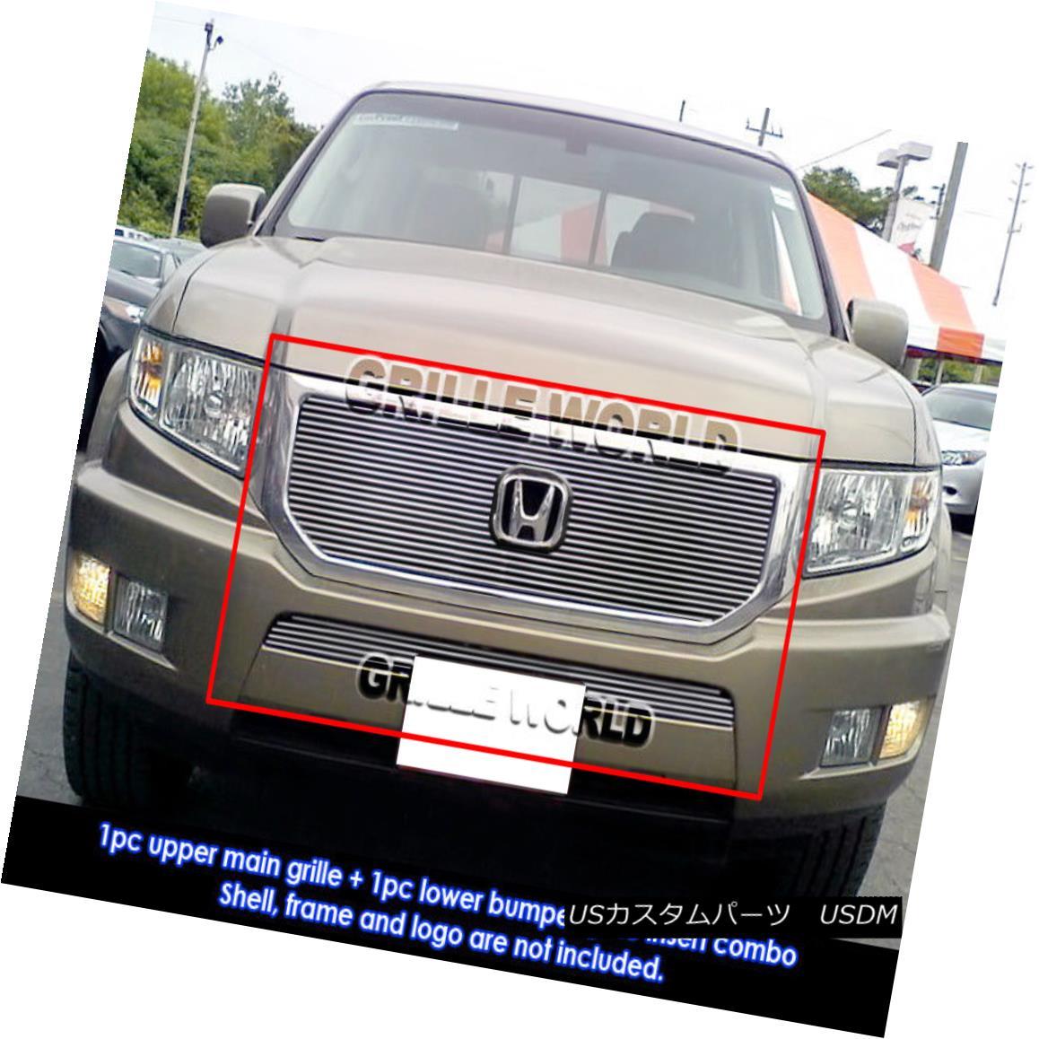 グリル For 09-10 Honda Ridgeline Billet Grille Insert Combo 09-10ホンダリッジラインビレットグリルインサートコンボ用