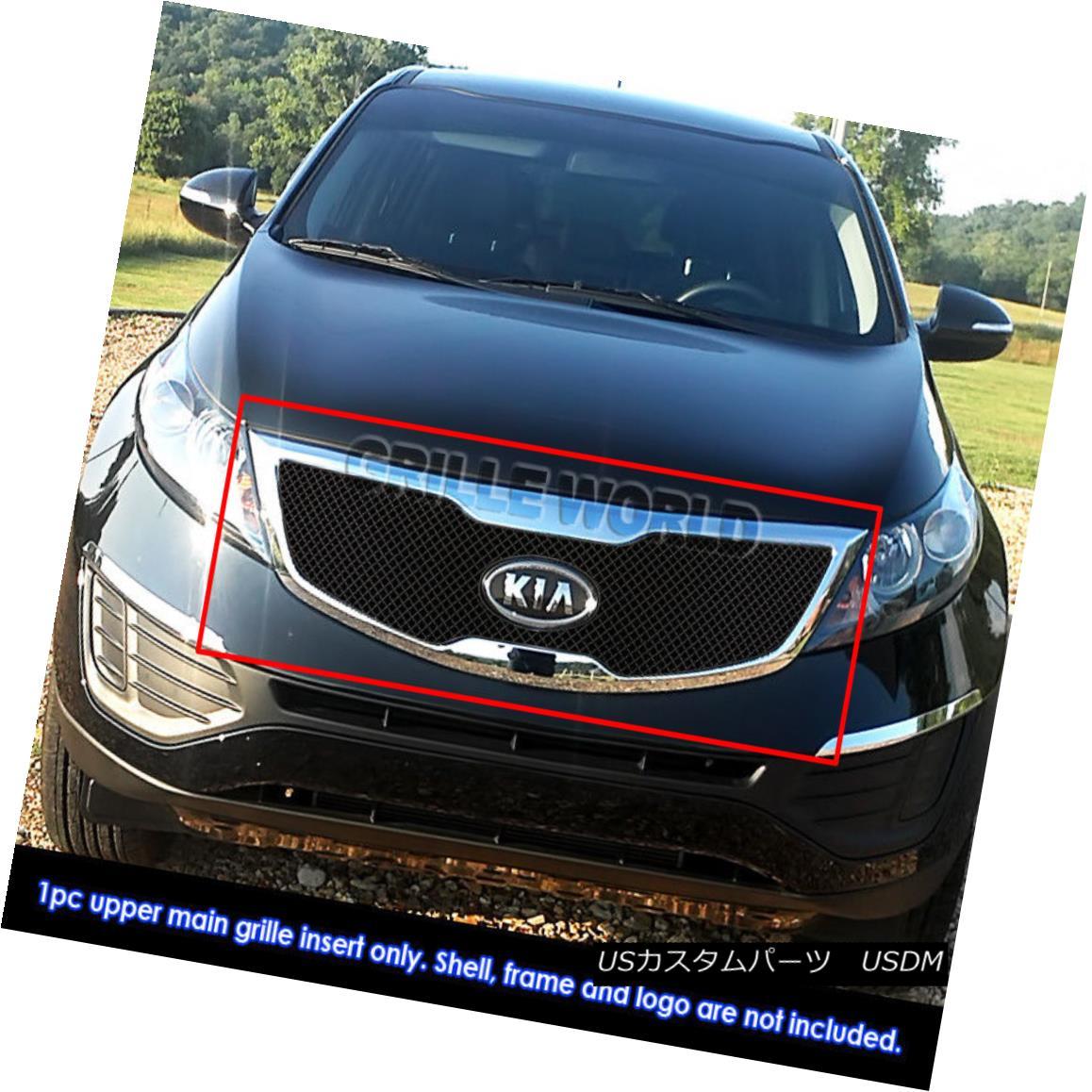 グリル Fits 2011-2012 Kia Sportage Reg Model Stainless Steel Black X -Mesh Grille 2011-2012 Kia Sportage RegモデルステンレススチールブラックXメッシュグリルに適合