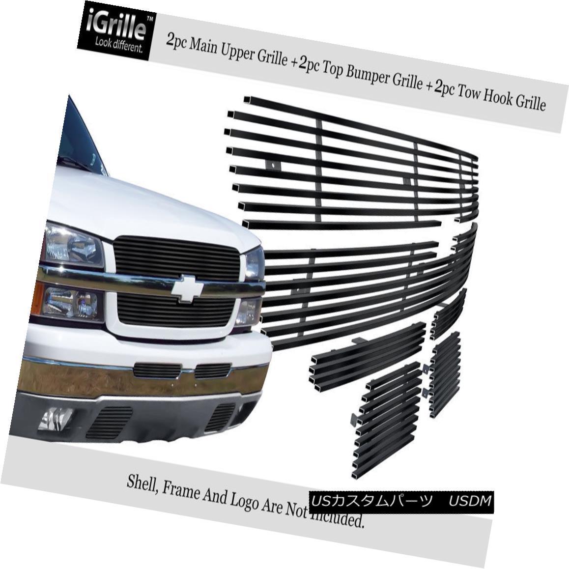 グリル Fits 03-05 Chevy Silverado 1500/03-04 2500 Stainless Black Billet Grille Combo フィット03-05 Chevy Silverado 1500 / 03-04 2500ステンレスブラックビレットグリルコンボ
