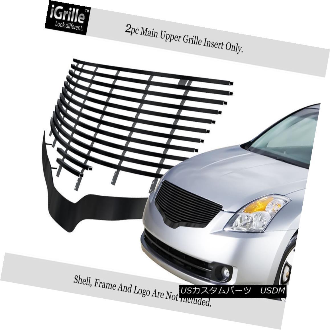 グリル For 07-09 Nissan Altima Black Stainless Steel Billet Grille Insert 07-09日産アルティマブラックステンレス鋼ビレットグリルインサート