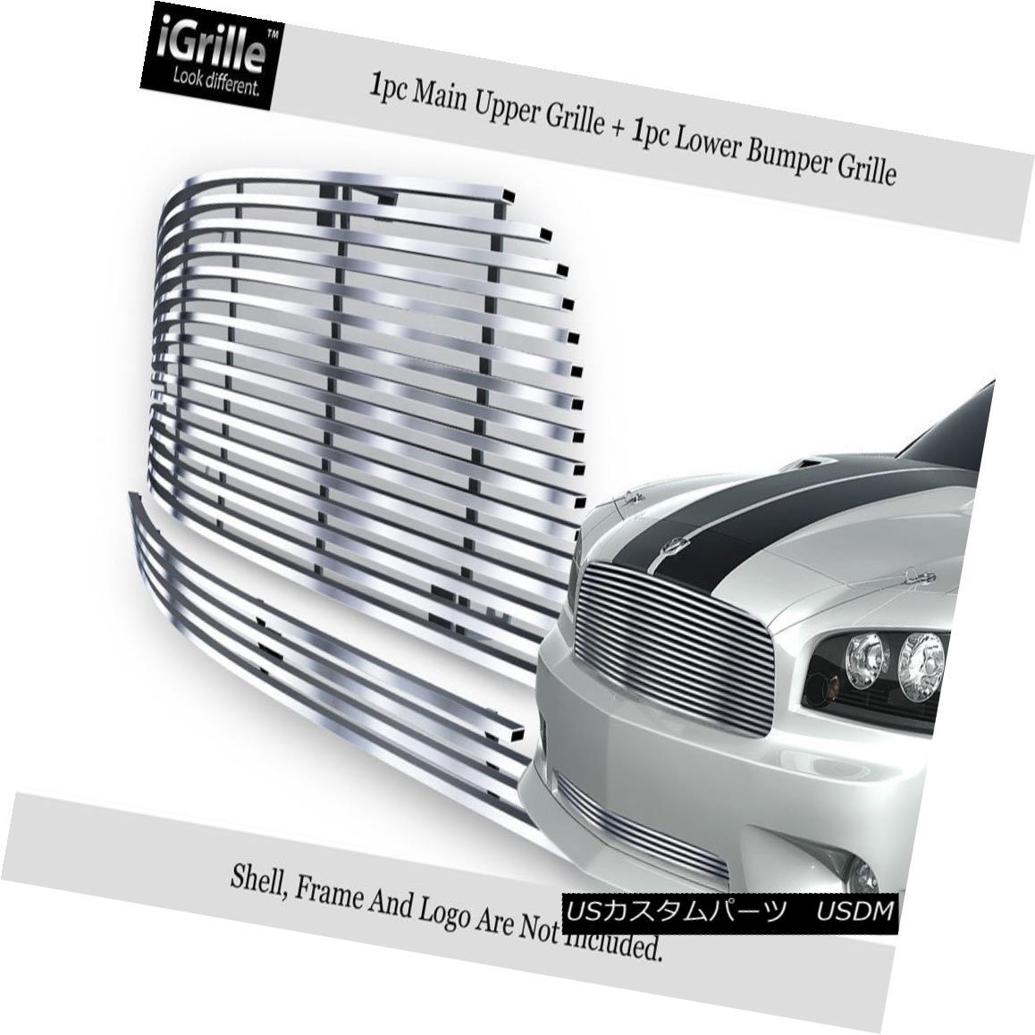 グリル Fits 05-10 Dodge Charger 304 Stainless Steel Billet Grille Combo フィット05-10ダッジチャージャー304ステンレス鋼ビレットグリルコンボ