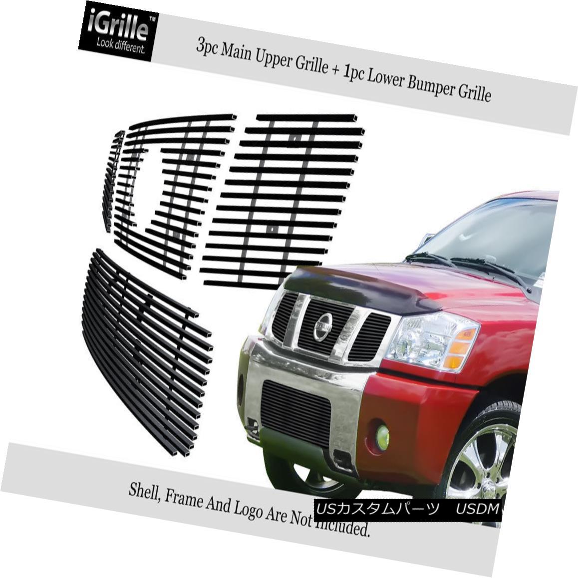 グリル Fits 2004-2007 Nissan Armada/Titan Stainless Steel Black Billet Grille Combo フィット2004-2007日産アルマダ/タイタンステンレス鋼ブラックビレットグリルコンボ