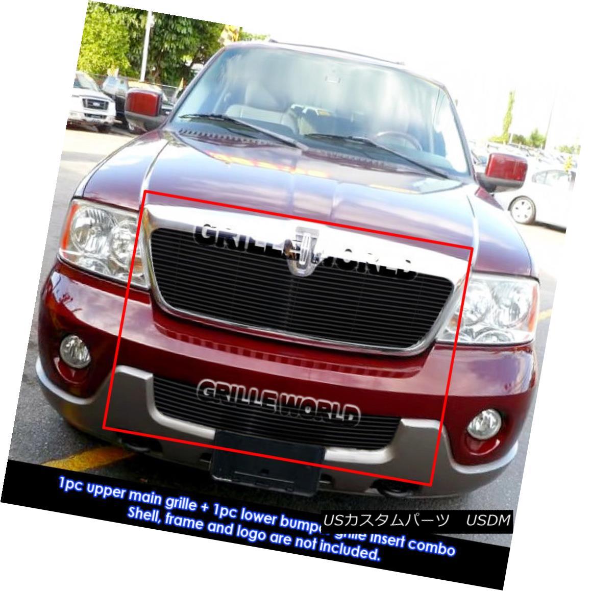 グリル For 03-04 Lincoln Navigator Black Billet Grille Insert Combo 03-04リンカーンナビゲーターブラックビレットグリルインサートコンボ用
