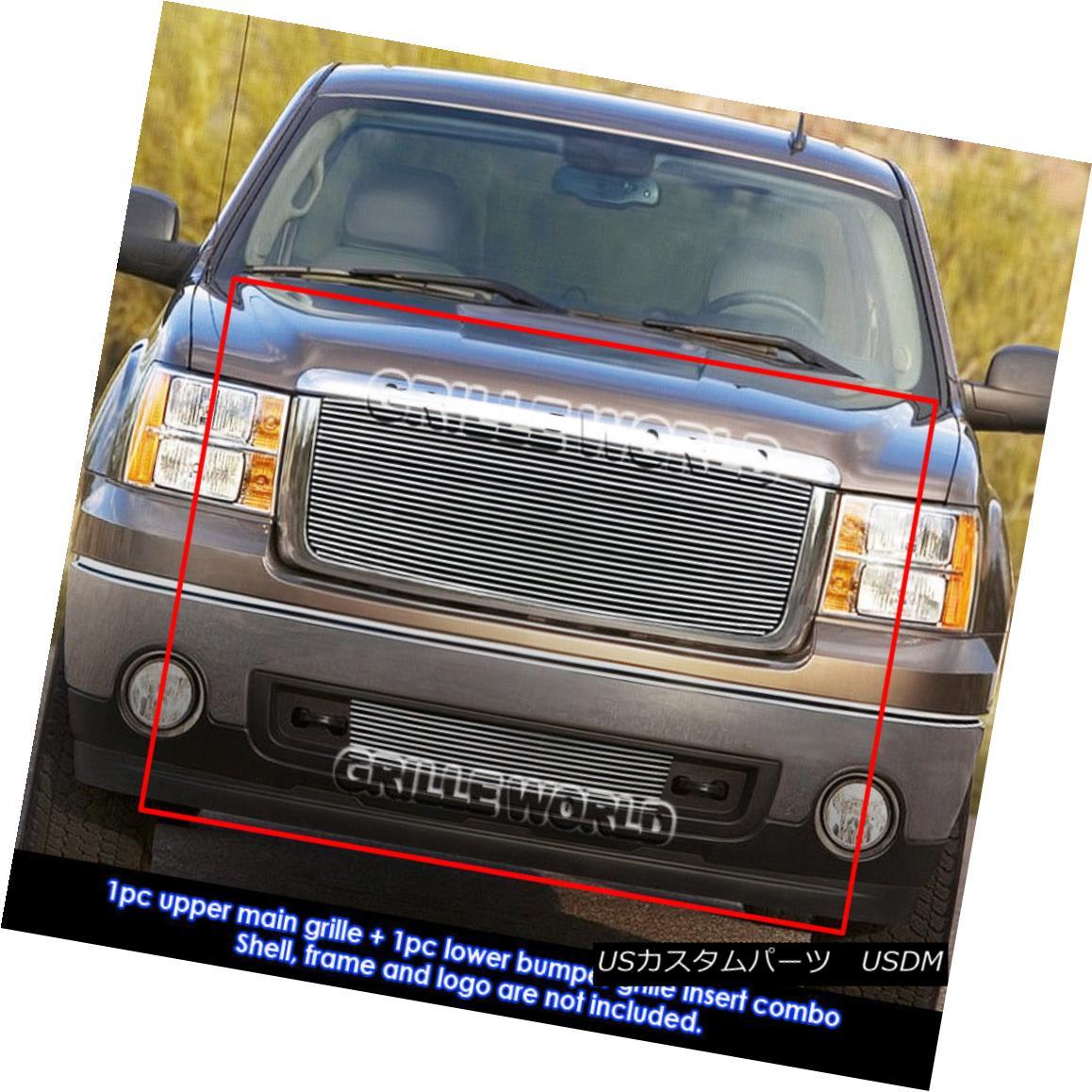 グリル For 2007-2012 GMC Sierra 1500 New Body Style Billet Grille Grill Combo Insert 2007?2012年GMC Sierra 1500新ボディスタイルビレットグリルグリルコンボインサート