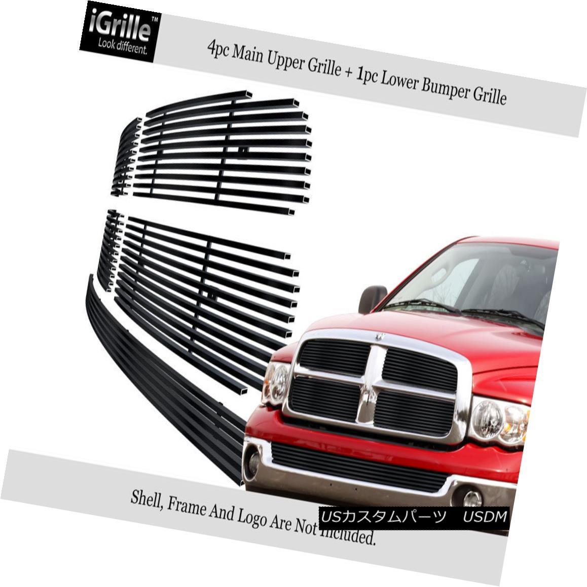 グリル Fits 2002-2005 Dodge Ram Stainless Steel Black Billet Grille Combo フィット2002-2005ダッジラムステンレススチールブラックビレットグリルコンボ