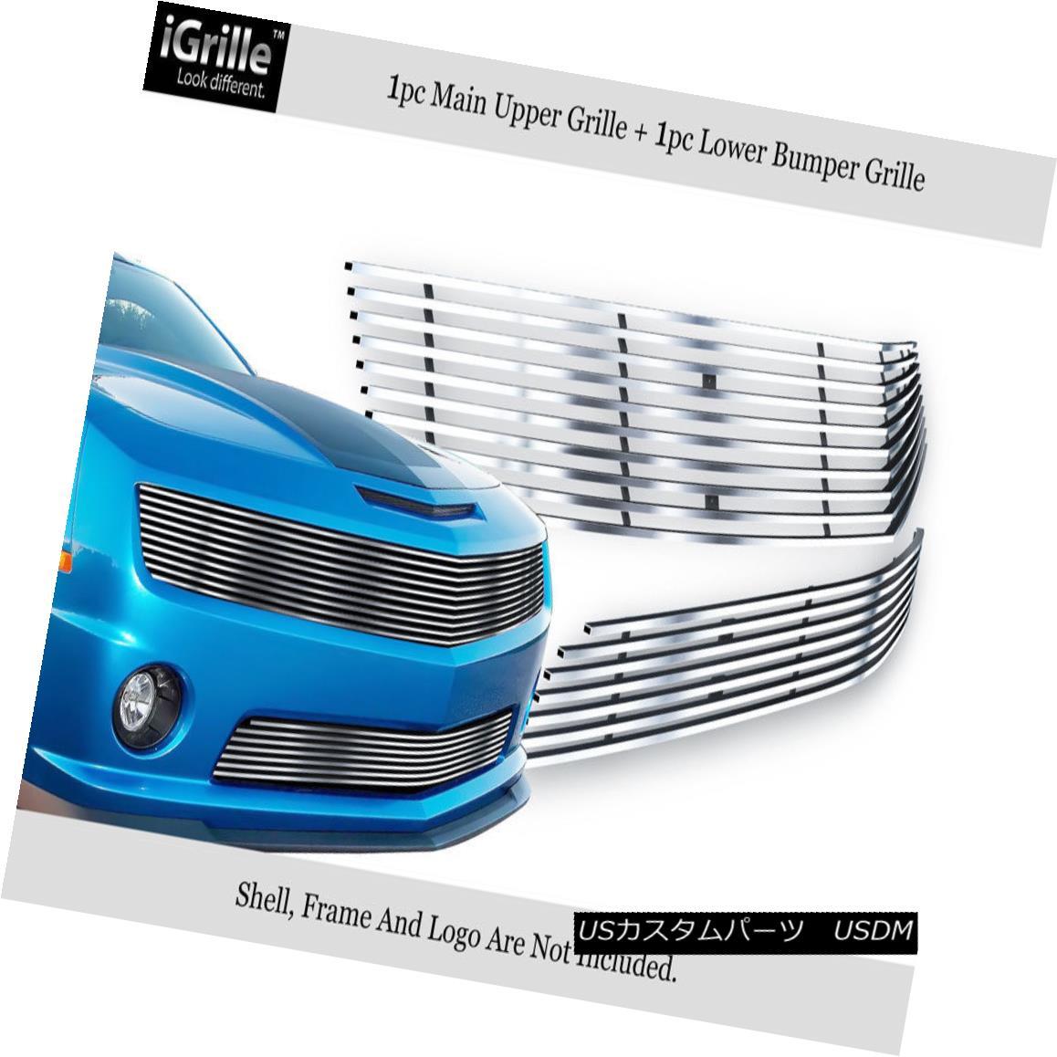 グリル Fits 10-11 Chevy Camaro LT/LS V6 304 Stainless Steel Billet Grille Combo フィット10-11シボレーカマロLT / LS V6 304ステンレス鋼ビレットグリルコンボ