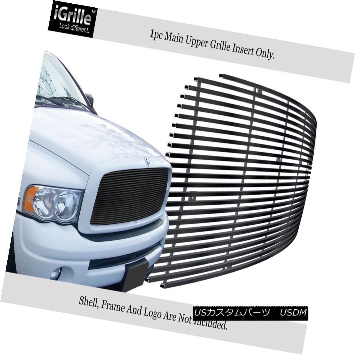 グリル For 2002-2005 Dodge Ram 1500/2500/3500 Stainless Steel Black Billet Grille 2002-2005ダッジラム1500/2500/3500ステンレススチールブラックビレットグリル用