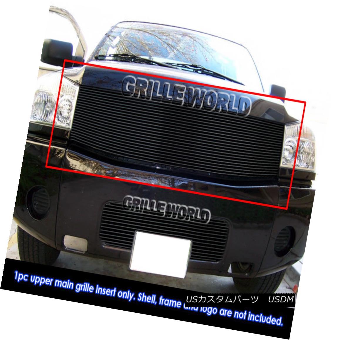 グリル For 04-07 Nissan Armada/Titan Black Billet Grille Insert 04-07日産アルマダ/タイタンブラックビレットグリルインサート