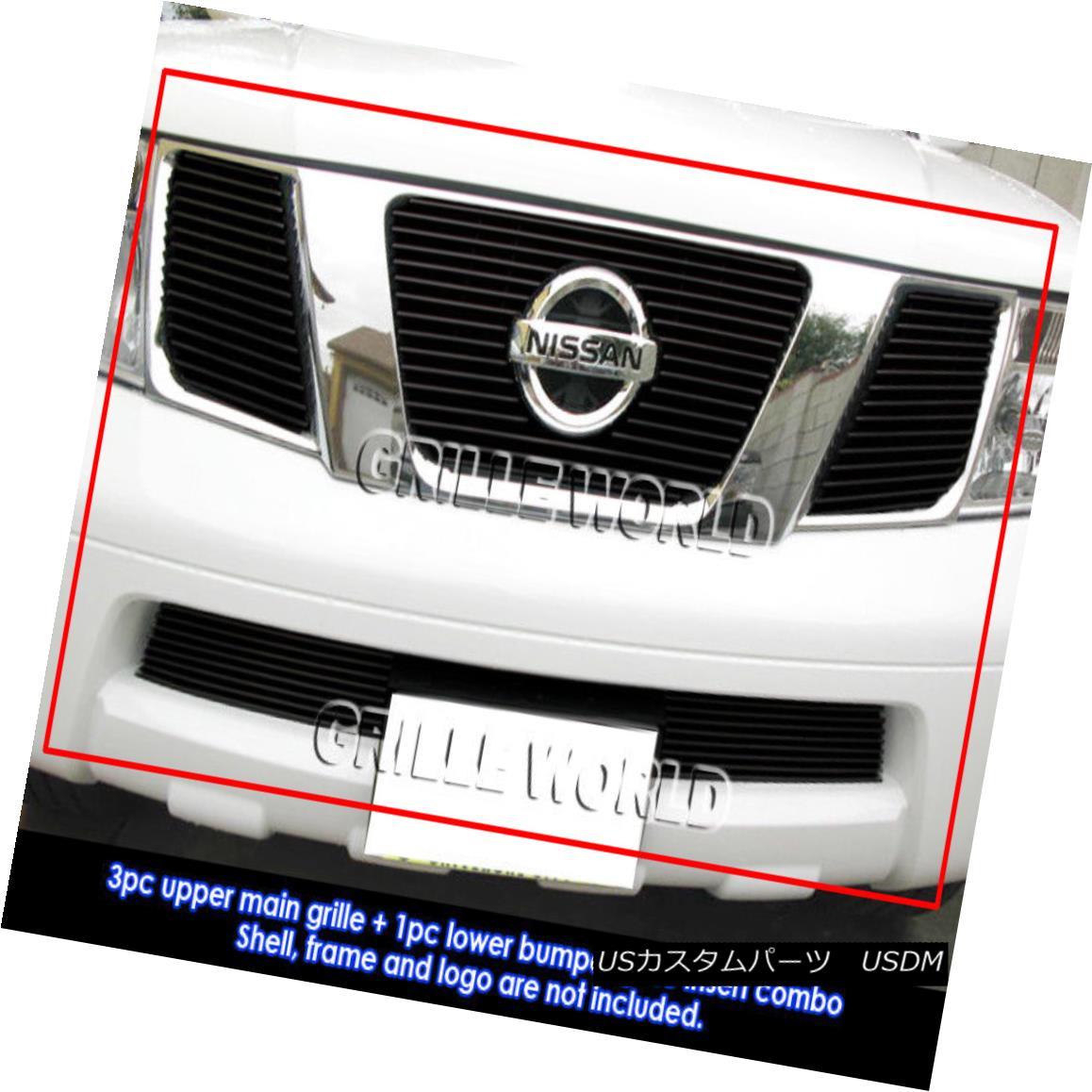 グリル For 05-07 Nissan Pathfinder/05-08 Frontier Black Billet Grille Grill Combo 05-07日産パスファインダー/ 05- 08 Frontier Black Billetグリルグリルコンボ