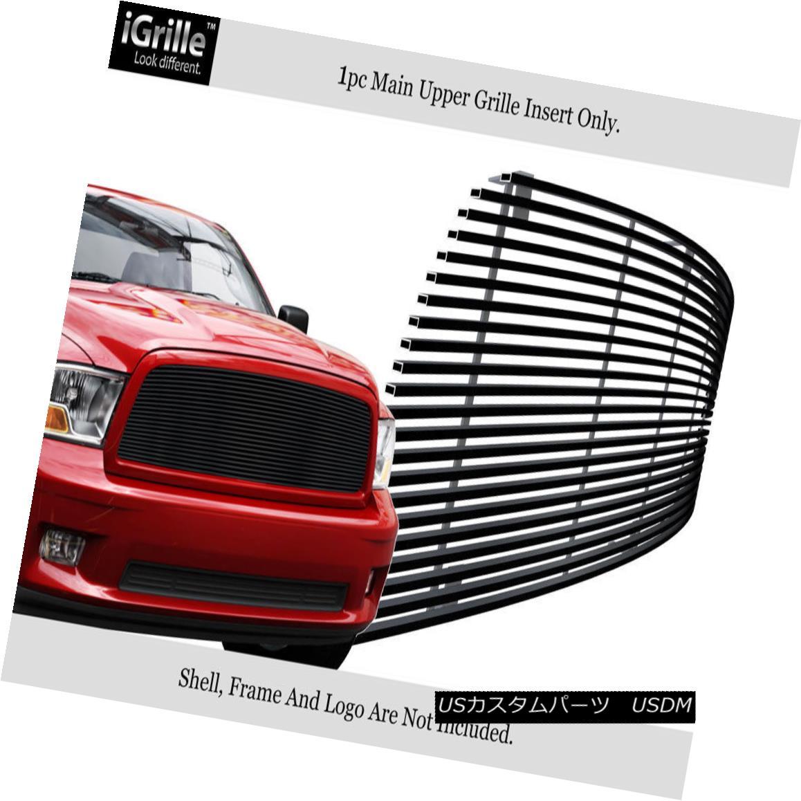 グリル For 2009-2012 Dodge Ram 1500 Pickup Black Stainless Steel Billet Grille 2009-2012ダッジラム1500ピックアップブラックステンレス鋼ビレットグリル用