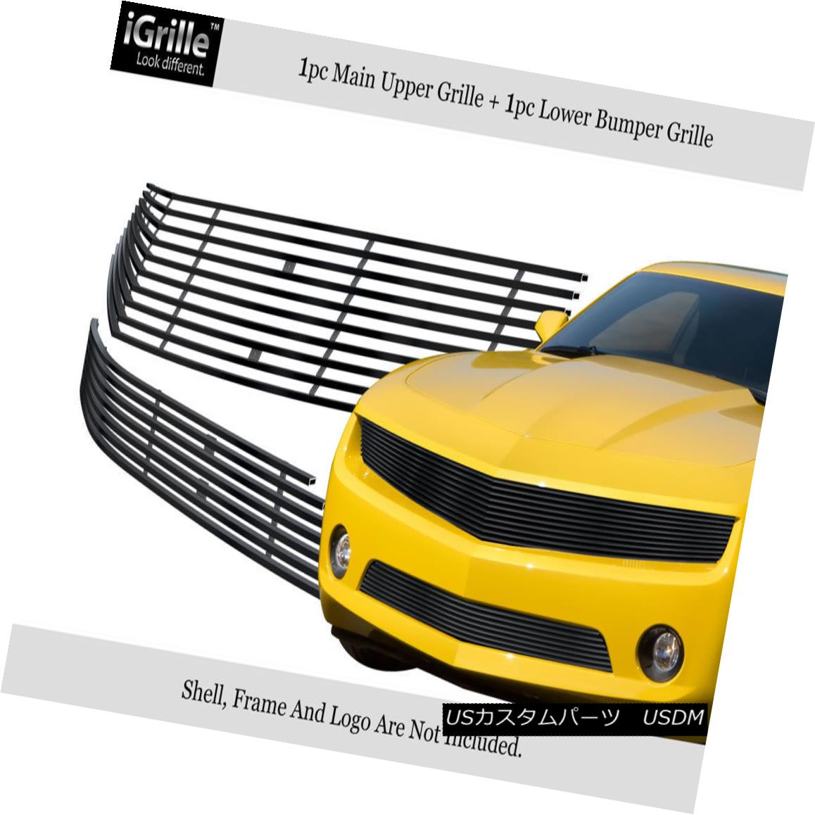 グリル Fits 2010-2013 Chevy Camaro LT/LS V6 Stainless Steel Black Billet Grille Combo フィット2010-2013シボレーカマロLT / LS V6ステンレススチールブラックビレットグリルコンボ