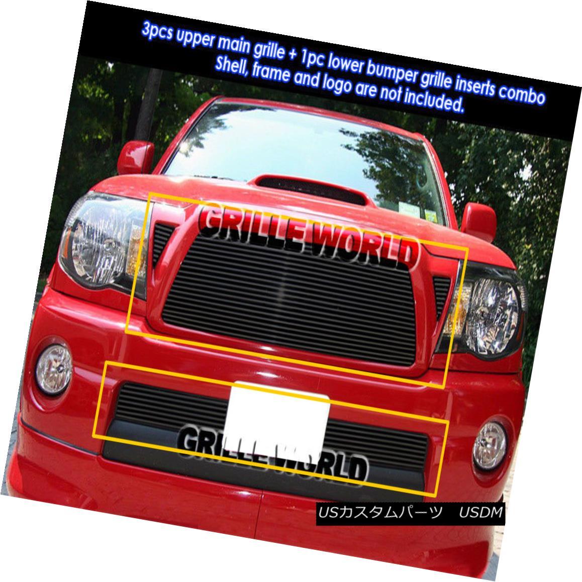 グリル For 05-10 Toyota Tacoma Black Billet Grille Combo Insert 05-10トヨタタコマブラックビレットグリルコンボインサート