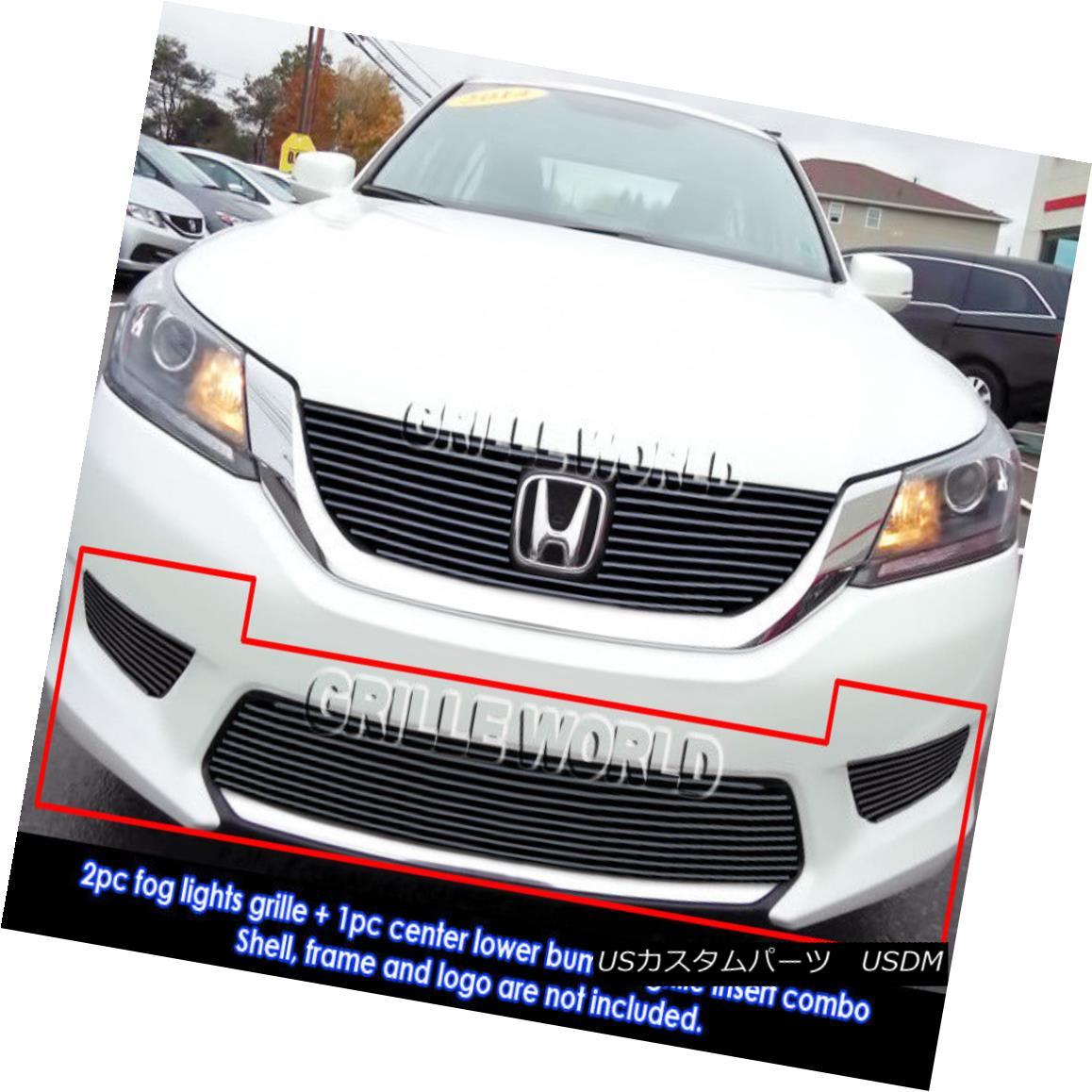 グリル For 2013-2015 Honda Accord Sedan Bumper & Light Cover Black Billet Grill Combo 2013年?2015年ホンダアコードセダンバンパー& ライトカバーブラックビレットグリルコンボ