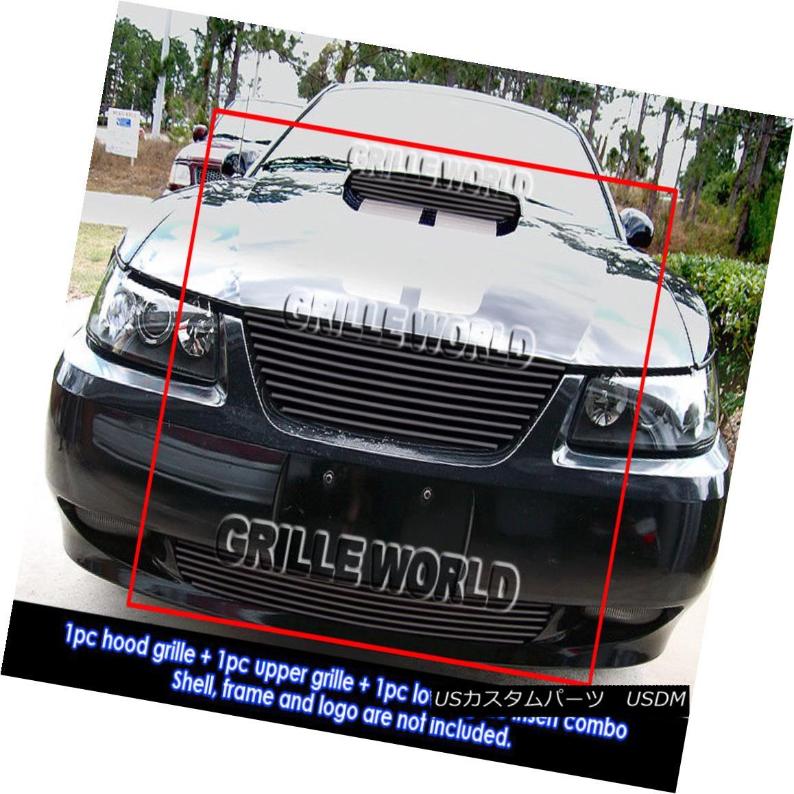 グリル For 1999-2004 Ford Mustang GT V8 Black Billet Grille Grill Combo Insert 1999-2004フォードマスタングGT V8ブラックビレットグリルグリルコンボインサート用